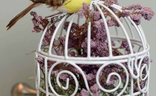 birdcage decoration, crafts, home decor, A lilac and a tiny bird perched on top of the cage this one might be my favorite