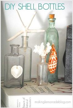 simple decorating with diy shell bottles, home decor, Grab your shells some old bottles and get hot gluing