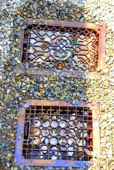 take the repurposed path less traveled, outdoor living, repurposing upcycling, Repurposed vintage grates add whimsy to a walkway