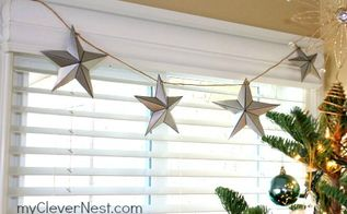 paper star garland, crafts, seasonal holiday decor, shabby chic, These adorn all my living room windows