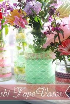 simple washi tape vases using recycled jars and bottles, crafts, Beautiful Upcycled Washi Tape Vases