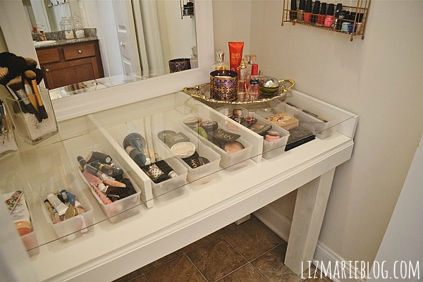 diy glass top makeup vanity desk, diy, how to, painted furniture, The - DIY Glass Top Makeup Vanity Desk Hometalk