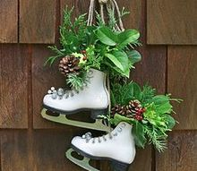 vintage skate swag, mason jars, repurposing upcycling, seasonal holiday d cor, Get that old pair of skates out of the basement and make a beautiful piece of holiday decor