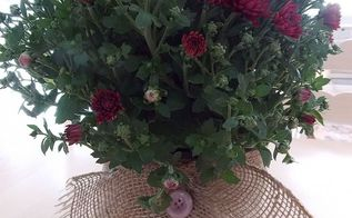 how to make a burlap skirt for your plant container, crafts, seasonal holiday decor