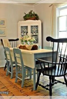 my fave room the dining room, chalk paint, dining room ideas, flowers, painting, The dining set now wears Annie Sloan Chalk Paint The tabletop is Old White the table legs and side chairs wear Duck Egg Blue The Windsor chairs are painted in Graphite