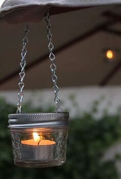 mini mason jars as a cute accessory to your patio, crafts, mason jars, patio, repurposing upcycling, mini mason jar candles after