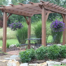 pergola season helpful tips to building your own, diy, outdoor living, woodworking projects, Hanging plants are a nice touch