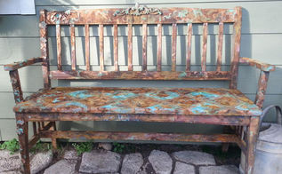 old bench into rusted iron, painted furniture, With some texture and diamonds of rust and patina copper this old bench has become a favorite