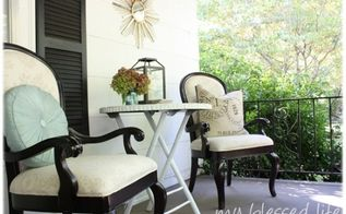 bamboo porch table makeover, painted furniture