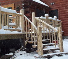 custom cedar porch and stairs completed, outdoor living, porches, woodworking projects