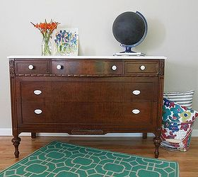 A Dark Wood Dresser With a White Top  Hometalk