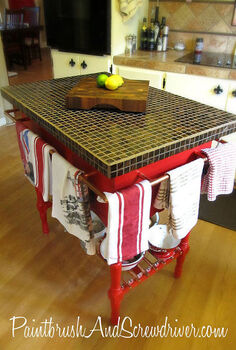 kitchen island made from re purposed wash stand, home decor, kitchen design, kitchen island, repurposing upcycling, Kitchen island made from washstand