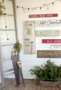 a tree farm inspired sign wall in the mudroom, christmas decorations, laundry rooms, painting, seasonal holiday decor