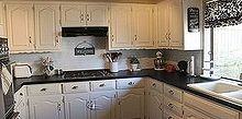 chalkboard countertops, chalkboard paint, countertops, diy, how to, kitchen design, This is the after photo two years later They ve held up great I ve only touched up a few spots here and there It s food safe and I can lay hot pots directly on the counter