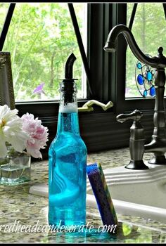 beer bottle soap dispenser, repurposing upcycling, This bottle is nice and light and easy to use when your hands are soapy