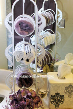 using a wine rack for guest hand towels, home decor, repurposing upcycling
