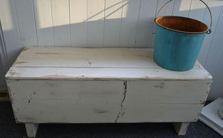 old wood box and leftover wood becomes charming bench, painting, repurposing upcycling, woodworking projects