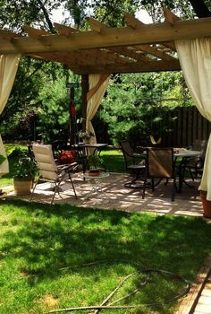 pergola season helpful tips to building your own, diy, outdoor living, woodworking projects, You can customize your pergola with curtains lights brick and more