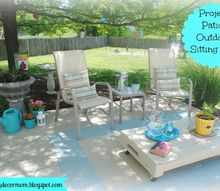outdoor living space, outdoor living, Sitting area under shade tree Pillows are made from outdoor fabric and table was made from old pallet