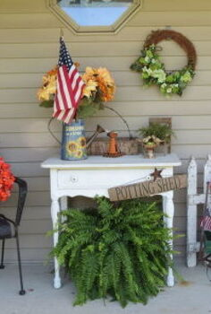 porch with a purpose, container gardening, flowers, gardening, outdoor living, repurposing upcycling, Wasn t sure about putting the white table there but it worked out ok