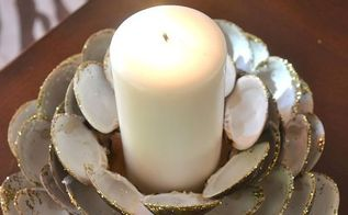 seashell candle holder, crafts, decoupage