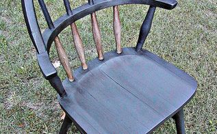 creating unique waxed finish using dark wax directly over chalk paint, chalk paint, painted furniture, A roadside rescue I transformed this chair using glue chalk paint and dark wax