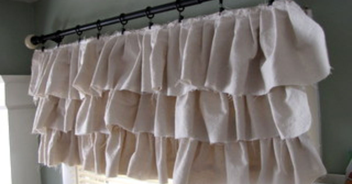 Make Your Own Ruffled Curtains From Painter 39 S Drop Cloths Hometalk