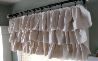 make your own ruffled curtains from painter s drop cloths, home decor, repurposing upcycling, shabby chic