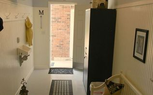 from old tool room to new mud room, foyer, garages, home decor, Looking out from inside