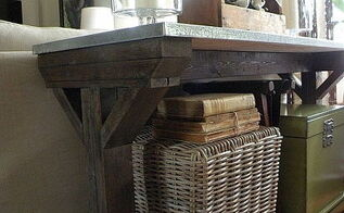 furniture, home decor, painted furniture, farmhouse console built from 2x4 s and sheet metal with custom mixed stain