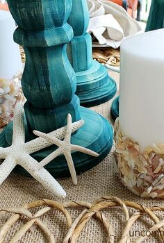 creating a summer beach tablescpae, crafts, seasonal holiday decor, Love the little strfish and capiz shell candle