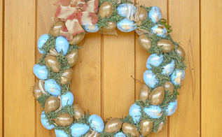 blue gold easter wreath, crafts, easter decorations, seasonal holiday decor, wreaths
