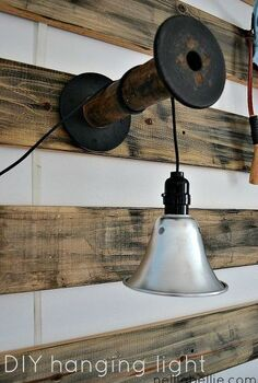 diy lights from funnel and or shoplight, lighting, repurposing upcycling, A shoplight hung on a vintage spool creates a great hanging light