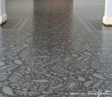 painted plywood subfloor, diy renovations projects, flooring, Stenciled subfloor