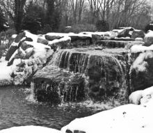 winter waterscapes, outdoor living, ponds water features, Winter Falls in Black and White