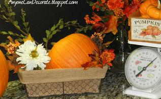 happy fall y all my kitchen fall decor, seasonal holiday decor, I love the way the orange pumpkins pop off of my chalkboard backsplash