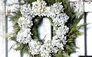 evergreen and hydrangea wreath, crafts, wreaths