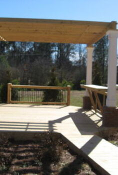 outdoor pergola with sitting area and fire pit, outdoor living