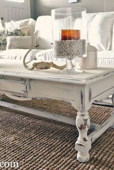 shabby chic white coffee table re do, home decor, painted furniture, shabby chic