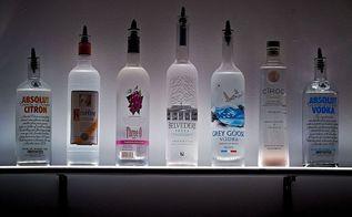 led lighted wall mounted liquor shelves bottle display, home decor, lighting, shelving ideas