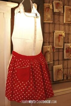 vintage aprons have heart for valentine s day decorating, christmas decorations, repurposing upcycling, seasonal holiday d cor, valentines day ideas, use a wire tomato cage over a floor lamp to create a mannequin dress form that lights up add a white dress and red vintage apron for Valentine s Day homewardfounddecor com