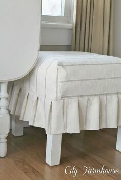 a simple pleated slipcover, reupholster