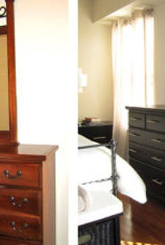 from traditional to modern master bedroom furniture makeover, bedroom ideas, painted furniture, Before After Dresser