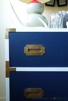 vintage campaign dresser makeover, home decor, painted furniture, Dresser front hardware after