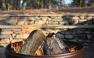 stone wall and patio with fire pit, outdoor living, patio, Natural stone wall and patio with fire pit Ypsilanti MI Stay warm soak in the laughter and create everlasting memories
