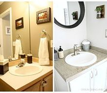 budget powder room makeover, bathroom ideas, home decor, lighting, painting, storage ideas, tiling