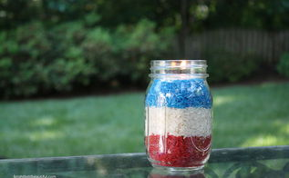 red white and blue votives fourth of july, crafts, mason jars, patriotic decor ideas, seasonal holiday decor