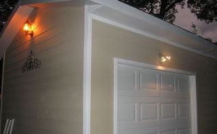 building a backyard shed shop, concrete masonry, diy, home improvement, outdoor living, Exterior lighting was added