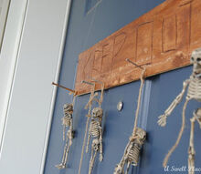 how to make a spooky skeleton door hanging, crafts, curb appeal, doors, garages, halloween decorations, seasonal holiday decor, wreaths, Skeleton Door Hanging