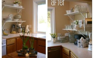 free kitchen cabinet to shelf makeover, doors, home decor, kitchen cabinets, shelving ideas, storage ideas, there are MORE dishes being stored on these shelves than ever fit in the previous four cabinets it s open light and stylish and the window looks larger with white trim Base cabs were to be painted white in the next phase